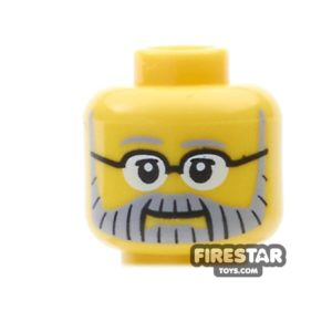 Product shot LEGO Mini Figure Heads - Gray Beard and Glasses