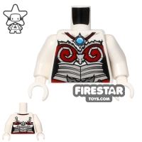 Product shot LEGO Mini Figure Torso - Female Wolf - Red Armour