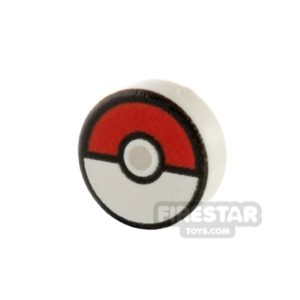 Product shot Printed Round Tile 1x1 Pokemon Poke Ball