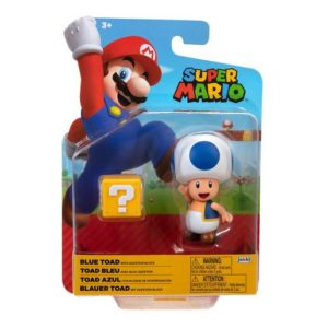 Super Mario 10cm Figure - Blue Toad with Question Block