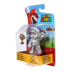 Super Mario 10cm Figure - Metal Mario With Trophy
