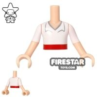 Product shot LEGO Disney Princess Mini Figure Torso - White Shirt - Red Belt