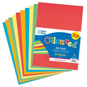 A4 Coloured Card - 50 sheets of coloured 220gsm A4 card in 5 assorted colours