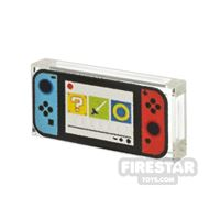 Product shot Printed Tile 1x2  Bricktendo Switch Blue and Red