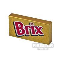 Product shot Printed Tile 1x2 Brix chocolate