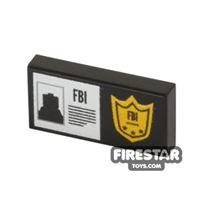 Product shot Printed Tile 1x2 - FBI Badge