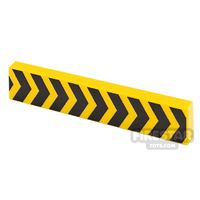 Product shot Printed Tile 1x4 Yellow Tape Chevron Lines
