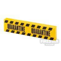 Product shot Printed Tile 1x4 Yellow Tape Quarantine