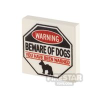 Product shot Printed Tile 2x2 Beware of Dogs