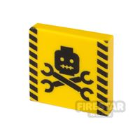 Product shot Printed Tile 2x2 Caution Sign