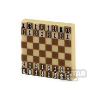 Product shot Printed Tile 2x2 - Chess Board - Dark Tan