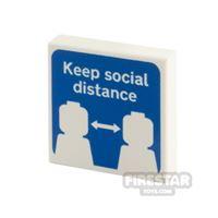 Product shot Printed Tile 2x2 Keep Social Distance