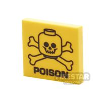Product shot Printed Tile 2x2 - Poison Warning Sign