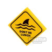 Product shot Printed Tile 2x2 Shark Warning Sign