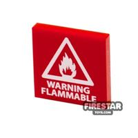 Product shot Printed Tile 2x2 - Warning Flammable