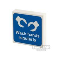 Product shot Printed Tile 2x2 Wash Hands Regularly