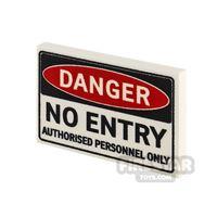 Product shot Printed Tile 2x3 Danger No Entry