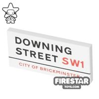 Product shot Printed Tile 2x4 - Downing Street Sign