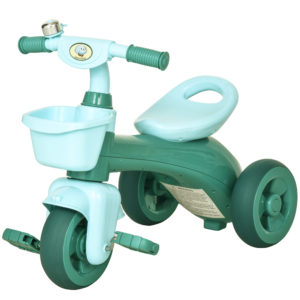 HOMCOM 3 Wheel Tricycle Kids Trike Ride-on Toy with Front Back Basket Bell for Toddlers Boys and Girls Age 3 to 6 Years Old Green|Aosom Ireland
