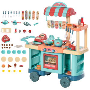 HOMCOM 50 Pcs Kids Fast Food Shop Cart Pretend Playset Kitchen Supermarket Toys Trolley Set |Aosom Ireland