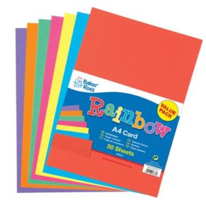 A4 Coloured Card - 50 Sheets of Rainbow Card in 7 Assorted Colours. 220gsm.