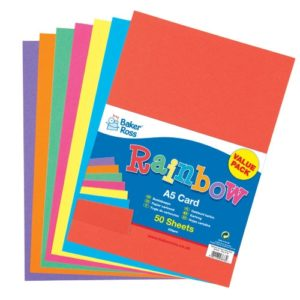 A5 Coloured Cards - 50 Rainbow Coloured Card Sheets. 7 colours: red
