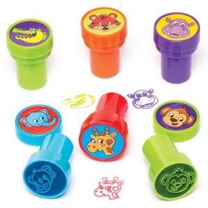 Animal Self-Inking Stampers - 10 Jungle Themed Stamp Sets for kids perfect as party bag fillers. 10 Assorted Designs. Size 20mm.