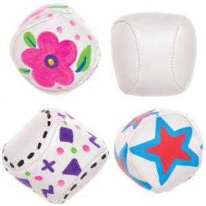 Design Your Own Mini Soft Balls - Pack of 6. 5cm diameter. PVC & Cotton Filling. DIY crafts