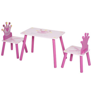 HOMCOM 3-Piece Set Kids Wooden Table Chair with Crown Pattern Easy to Clean Gift for Girls Toddlers Age 3 to 8 Years Old Pink|Aosom Ireland
