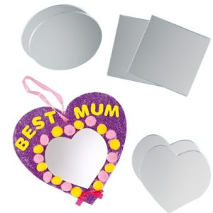 Acrylic Craft Mirrors - 12 Mirrors made from strong flexible acrylic with removable protective cover. 3 asst shapes - square