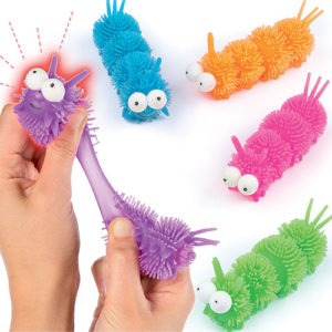 Caterpillar Light-Up Toys - 4 Stretchy Caterpillars with printed faces in assorted colours. Size 5cm. Perfect as party bag fillers and prizes.