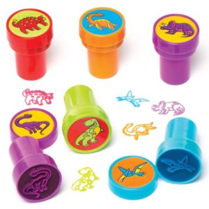 Dinosaur Self-Inking Stampers - 10 Stampers. Size 20mm. Assorted ink colours and designs - kids painting craft. Supplied in case with lid.