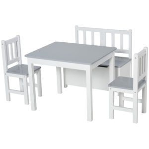 HOMCOM 4-Piece Kids Table Set with 2 Wooden Chairs