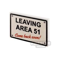 Product shot Printed Tile 2x3 Leaving Area 51 Sign